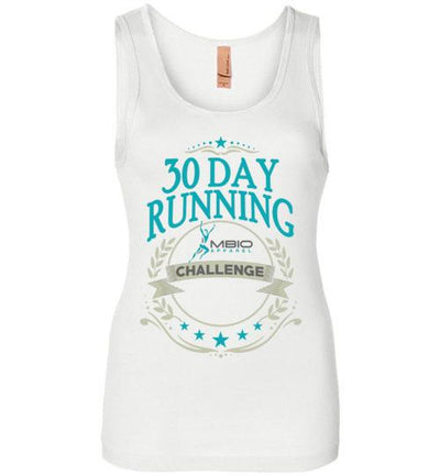 30 Day Running Challenge Women's Jersey Tank T-Shirt Mbio Apparel Next Level White S