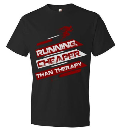 Running, Cheaper Than Therapy T-Shirt T-Shirt Mbio Apparel Anvil Black S
