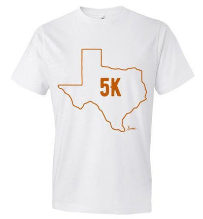 Texas Outline 5K T-Shirt T-Shirt Mbio Apparel Anvil White S