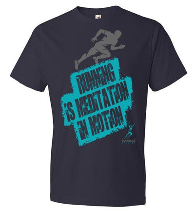 Running is Meditation in Motion T-Shirt T-Shirt Mbio Apparel Anvil Navy S