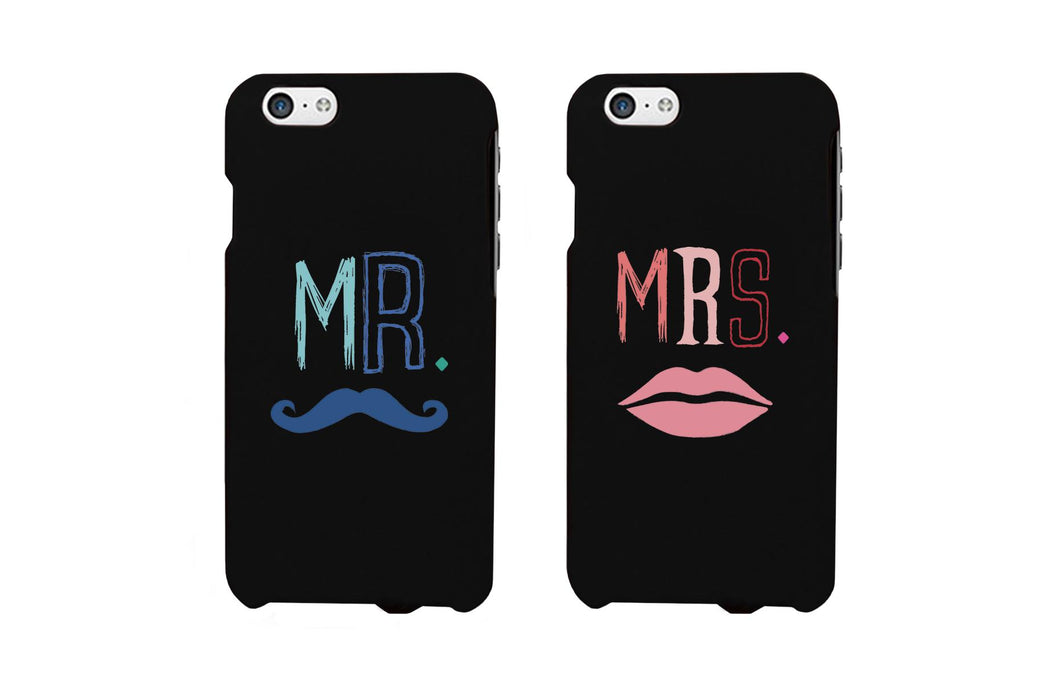Mr. Blue Mustache & Mrs. Pink Lips Matching Couple Black Phonecases (Set)