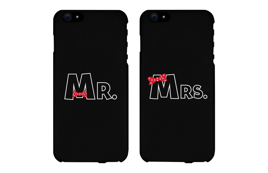 Mr. & Mrs. Bow Tie Matching Couple Black Phonecases (Set)