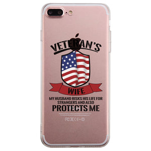 Veteran's Wife Clear Phone Case Cute July 4th Graphic Phone Cover