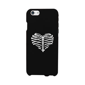 Skeleton Heart Black Phone Case