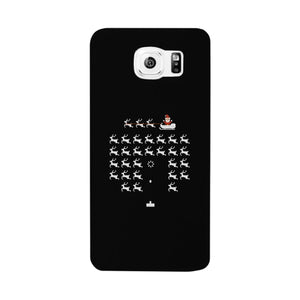 Pixel Game Santa And Rudolph Black Phone Case