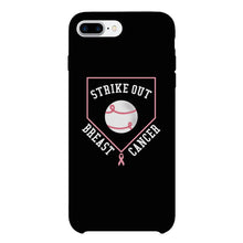 Strike Out Breast Cancer Baseball Black Phone Case