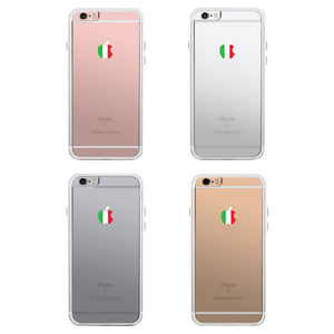 365Printing 360° Full Protection Apple Shape Italy Flag Clear Phone Case