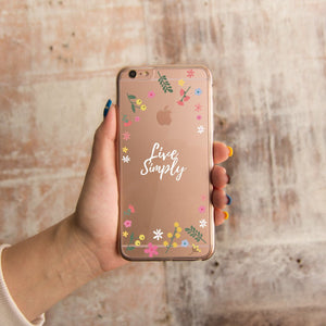 360° Protection Live Simply Floral Clear Phone Case