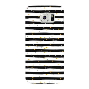 Black & White Stripes With Gold Glitter Phone Case Samsung Galaxy S6 Edge case