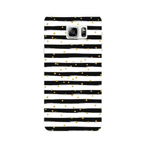 Black & White Stripes With Gold Glitter Phone Case Samsung Galaxy Note 5 case