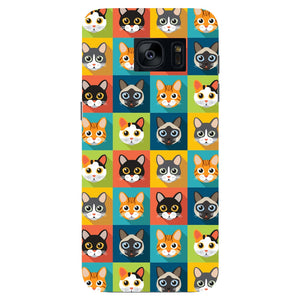 Colorful Cat Faces Phone Case Samsung Galaxy S7 Edge case