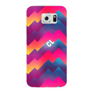 Colorful Geometric Waves Initials Custom Phone Case Samsung Galaxy S6 Edge case