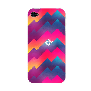 Colorful Geometric Waves Initials Custom Phone Case iPhone 4S case