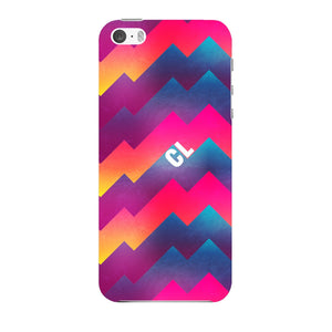 Colorful Geometric Waves Initials Custom Phone Case iPhone 5 case