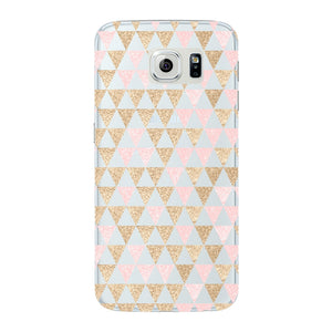 Gold Pink Printed Triangle Glitter Phone Case Samsung Galaxy S6 Edge case