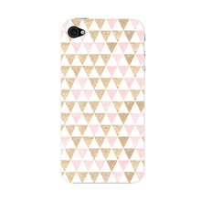 Gold Pink Printed Triangle Glitter Phone Case iPhone 4S case