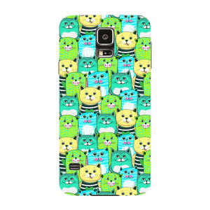 Green, Yellow, & Blue Funny Cats Phone Case Samsung Galaxy S5 case