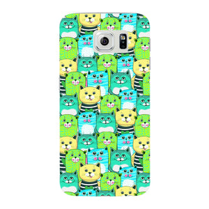 Green, Yellow, & Blue Funny Cats Phone Case Samsung Galaxy S6 Edge case