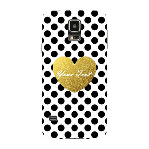 Polka Dots Golden Heart Custom Case Samsung Galaxy S5 case