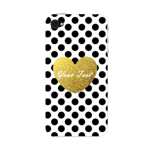 Polka Dots Golden Heart Custom Case iPhone 4S case