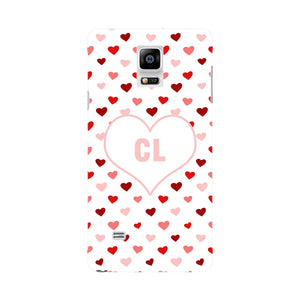 Red & Pink Hearts Initials Custom Phone Case Samsung Galaxy Note 4 case