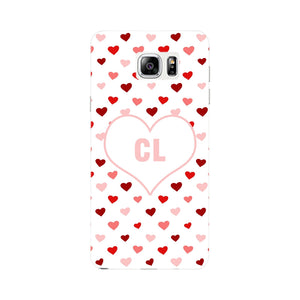 Red & Pink Hearts Initials Custom Phone Case Samsung Galaxy Note 5 case
