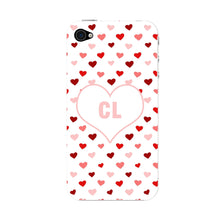 Red & Pink Hearts Initials Custom Phone Case iPhone 4S case