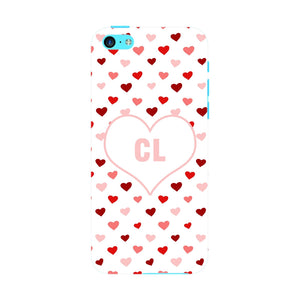 Red & Pink Hearts Initials Custom Phone Case iPhone 5C case