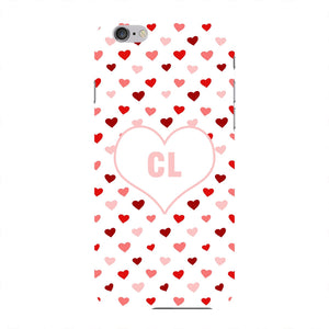 Red & Pink Hearts Initials Custom Phone Case iPhone 6 case