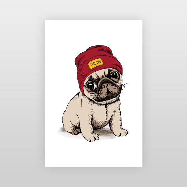 Hipster Pug Poster
