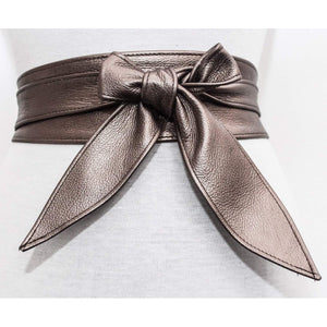 Antique Gold Leather Tulip tie Obi Belt - loveyaayaa