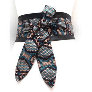 Aztec Print Black Leather Obi Belt - loveyaayaa
