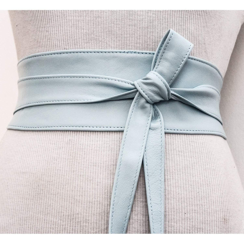 Baby Blue soft Leather Obi Belt - loveyaayaa