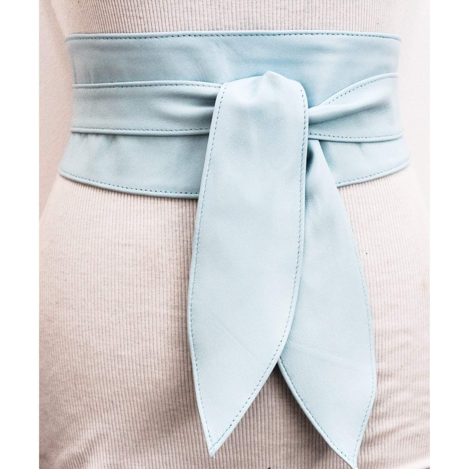 Baby Blue soft Leather Tulip Tie Obi Belt - loveyaayaa