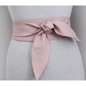 Baby Pink soft Leather Obi Belt tulip tie - loveyaayaa
