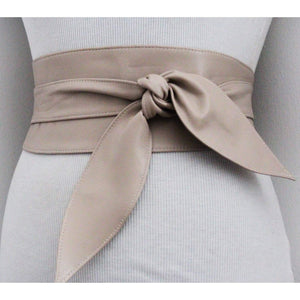 Beige soft Leather Obi Belt tulip tie - loveyaayaa