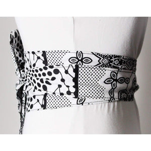 Black and White African Print Obi Belt - loveyaayaa