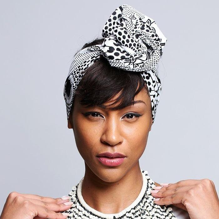 Black and White Print head wrap - loveyaayaa