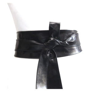 Black Belt | Black Leather Obi Belt - loveyaayaa