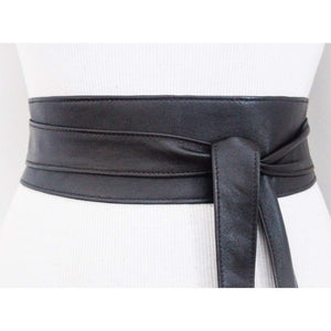 Black Brown Leather Obi Belt | Waist Belt - loveyaayaa