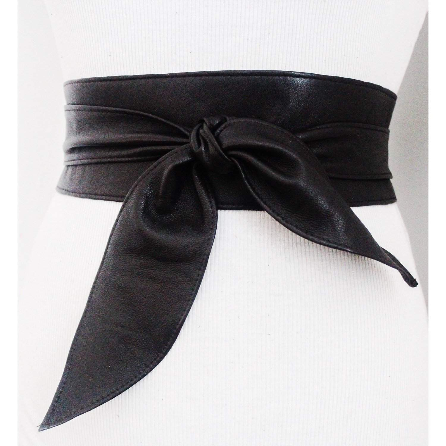 Black Brown Soft Leather Obi Tulip tie belt - loveyaayaa