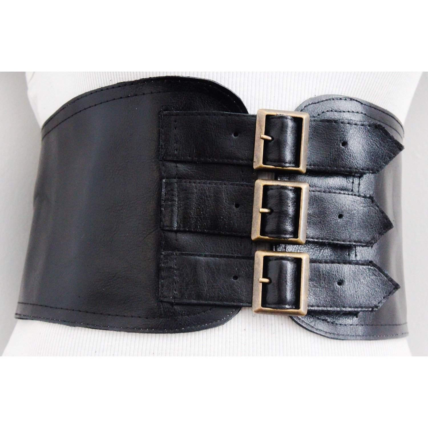Black Corset Leather Three Buckle Belt - loveyaayaa