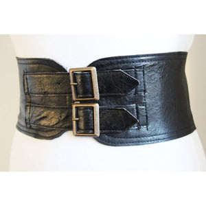 Black Corset Leather Two Gold Buckle Belt - loveyaayaa
