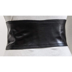 Black Corset Leather Two Silver Buckle Belt - loveyaayaa