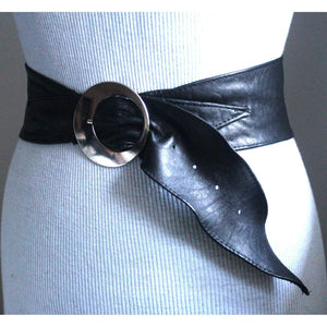 Black Corset Waist Silver or Gold Buckle Belt - loveyaayaa