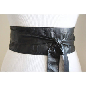 Black Croc Leather Obi Belt - loveyaayaa