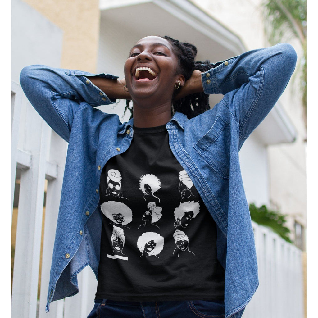 Black girl T Shirt - Afro and Head Wraps - loveyaayaa