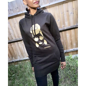 Black Headwrap hoodie Jumper dress - loveyaayaa