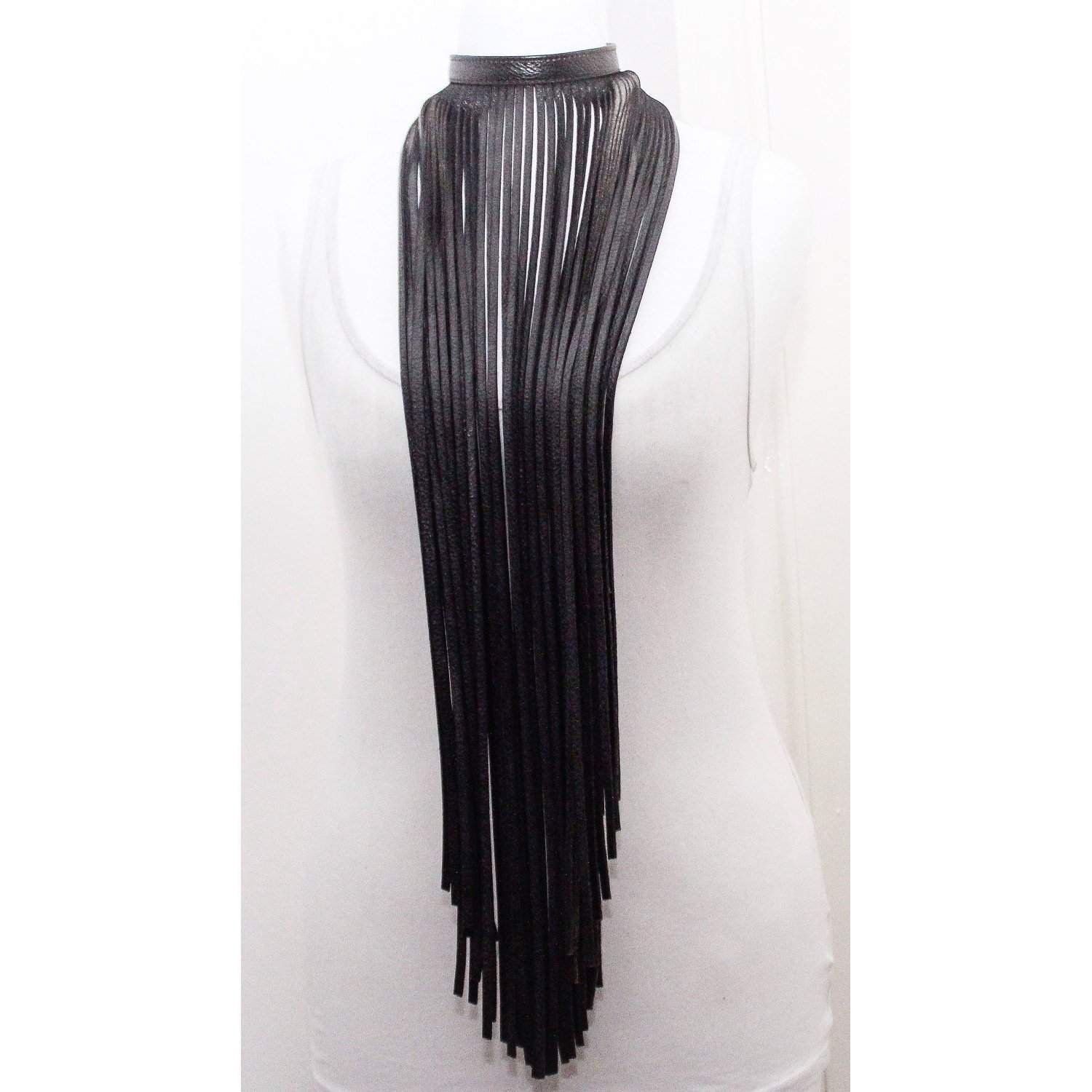Black Leather Fringe Necklace - loveyaayaa