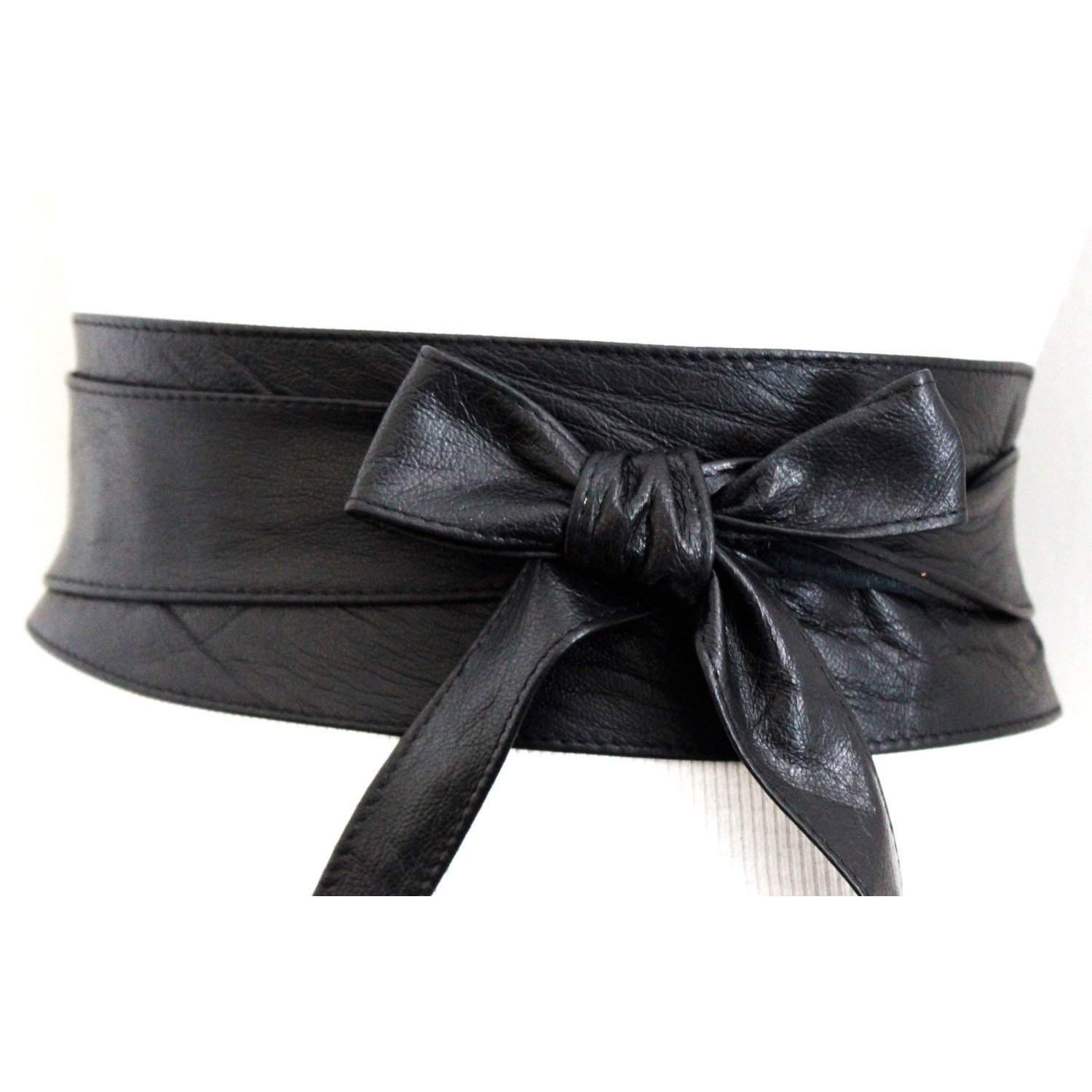 Black Leather Obi Belt | Black Sash Belt - loveyaayaa